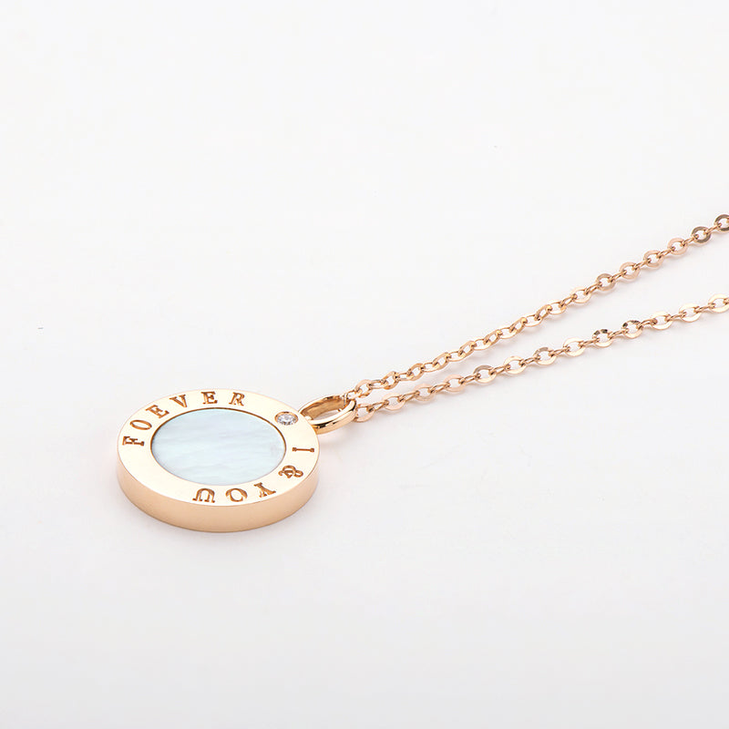 18K Rose Gold 0.01ct Natural Diamond Black Agate & White Mother-Of-Pearl I & YOU FOREVER Disc Pendant Necklace