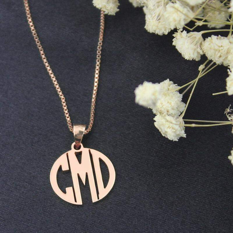 18K Rose Gold 3 Letter Charm Initial Necklace Gift for Women Girls