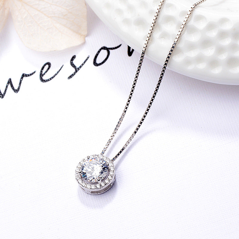 Halo Created White Diamond Pendant Necklace