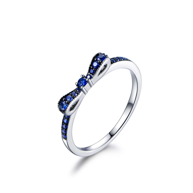 Bowknot Created Blue Diamond Ring