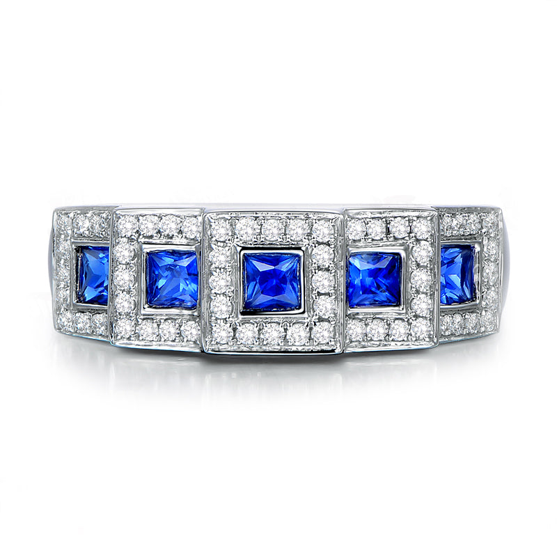 Blue 5-Stone Created Diamond Rings