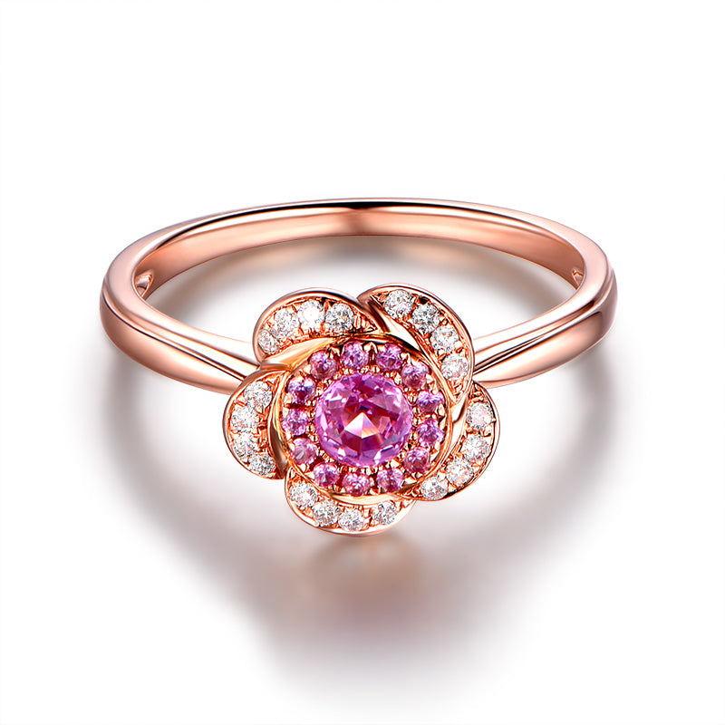Pink Rose Flower Created Diamond Rings