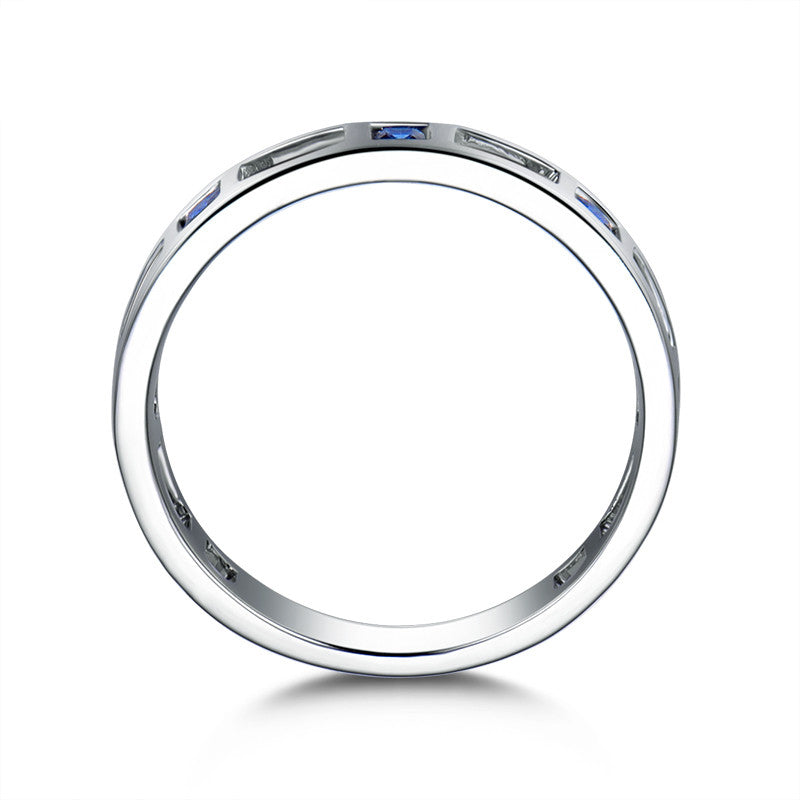 Hollow Blue Princess Cut Created Sapphire Half Eternity Rings