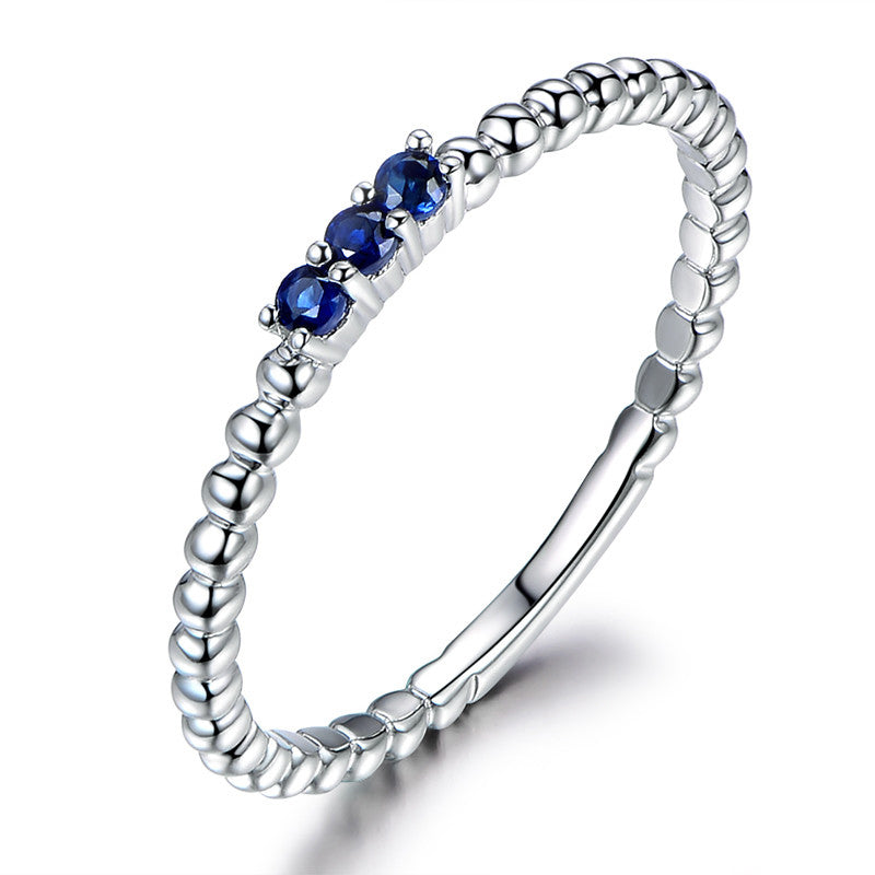 Blue 3-stone Created Diamond Rings