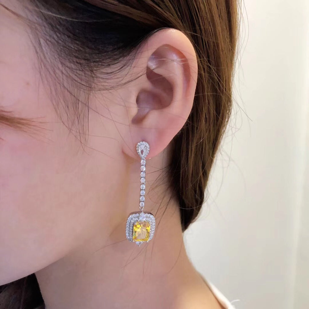 Halo Yellow Radiant Created Diamond Drop Earrings