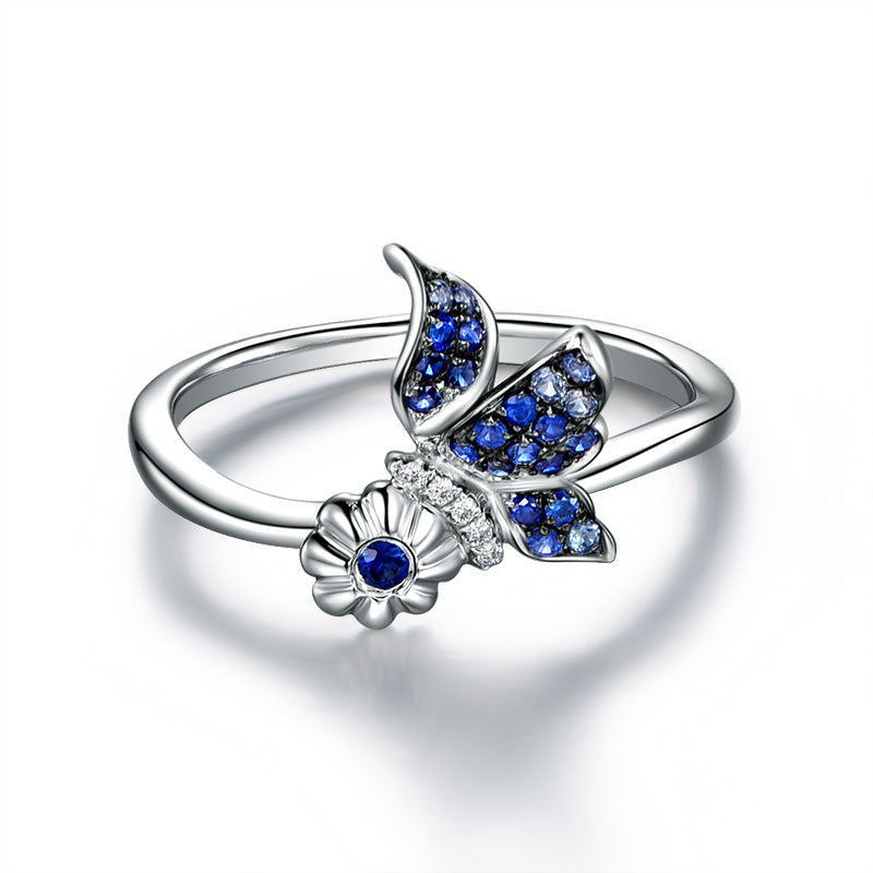 Butterfly Created Blue Diamond Ring