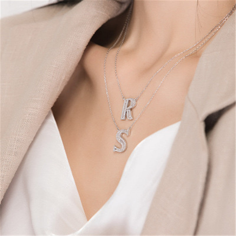 Letter M Created White Diamond Pendant Necklace