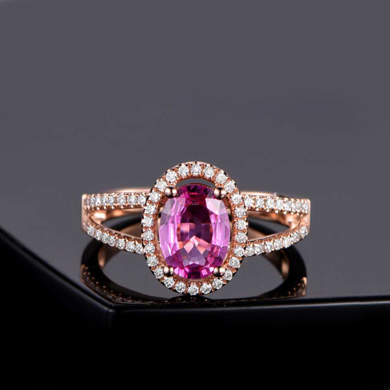 Halo Oval Created Pink Diamond Ring