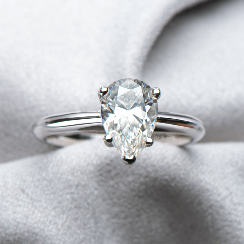 Classic Solitaire Pear Moissanite Diamond Ring