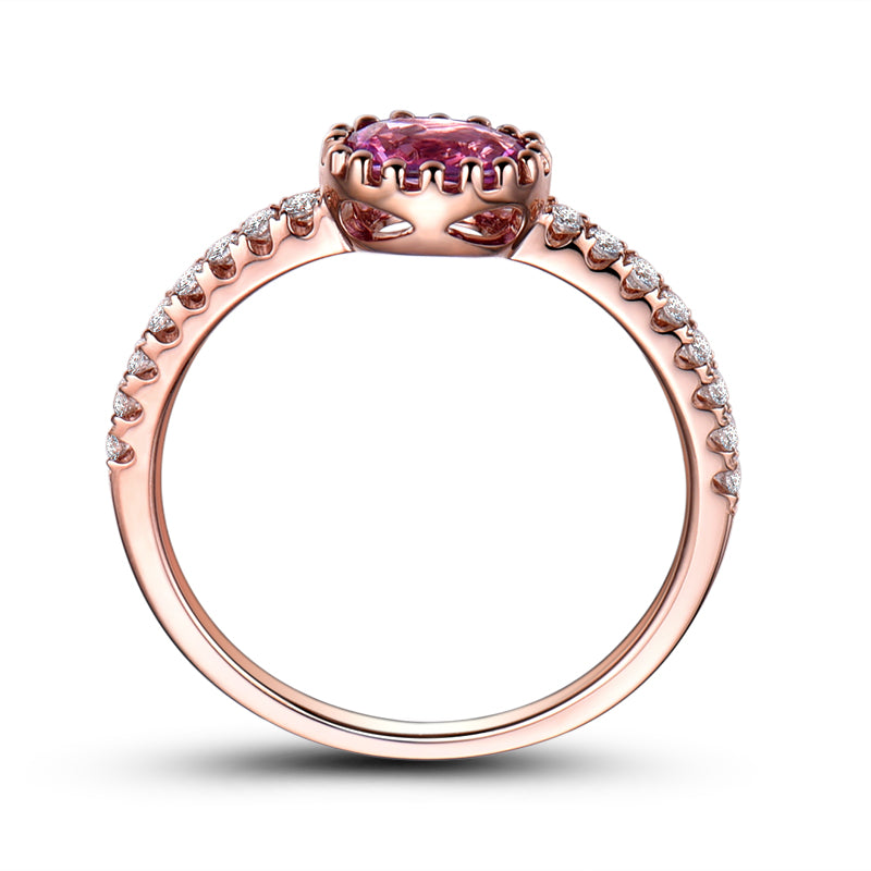 Oval Created Pink Diamond Ring
