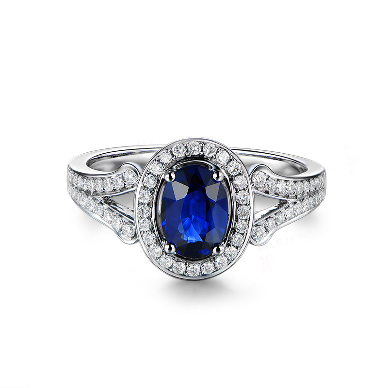 Blue Halo Oval Cut Created Diamond Rings