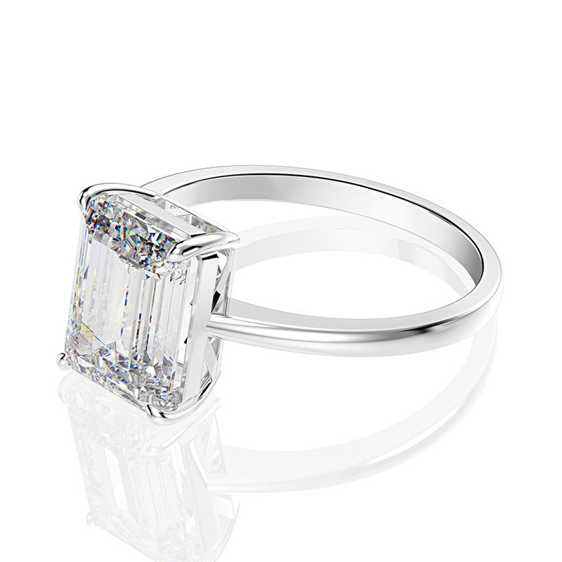 Emerald Cut White Created Diamond Solitaire Ring