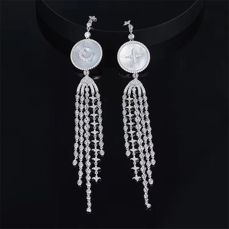 Moon Beads Long Dangle Trendy Earrings