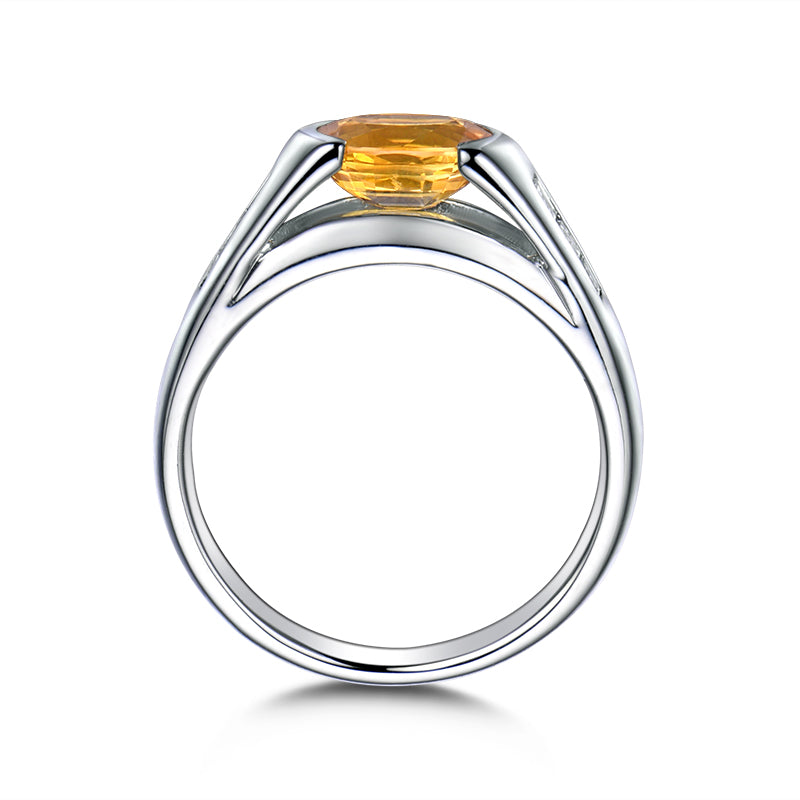 Yellow Oval Cut Created Diamond Rings
