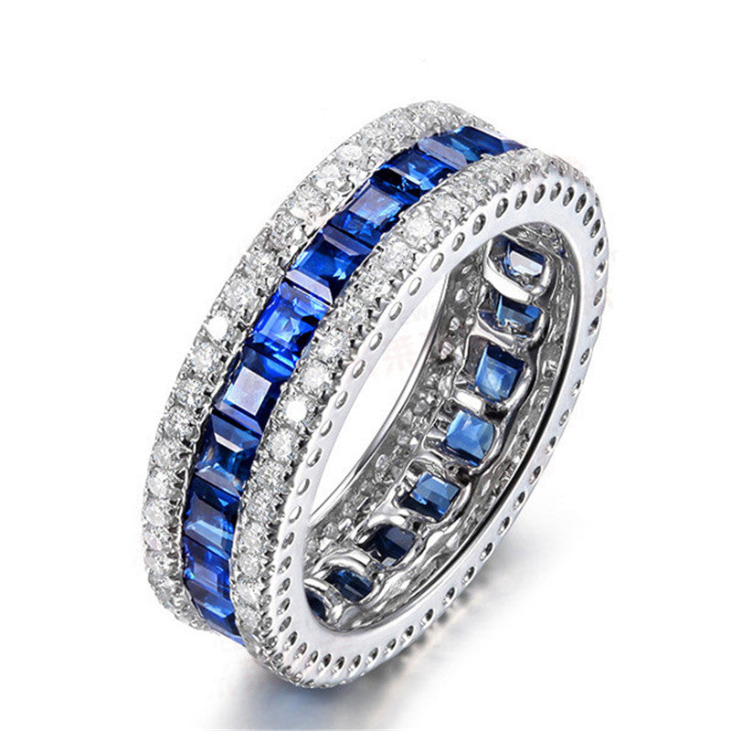 Princess Blue Created Sapphire Full Eternity Rings