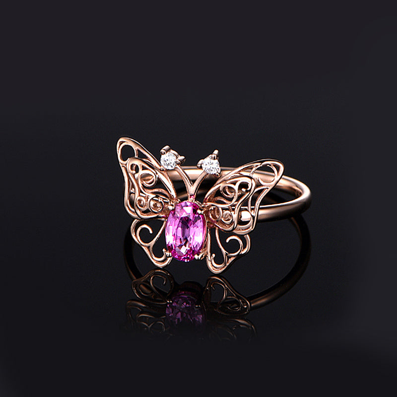 Butterfly Created Pink Diamond Ring