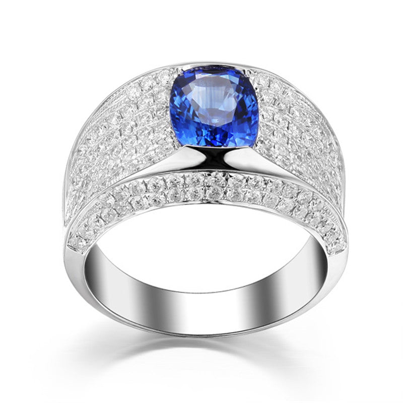 Oval Created Blue Diamond Ring