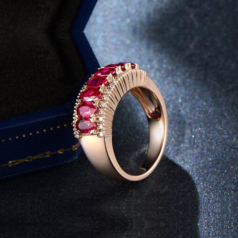 Pink and Blue Oval Cut Created Diamond Ring