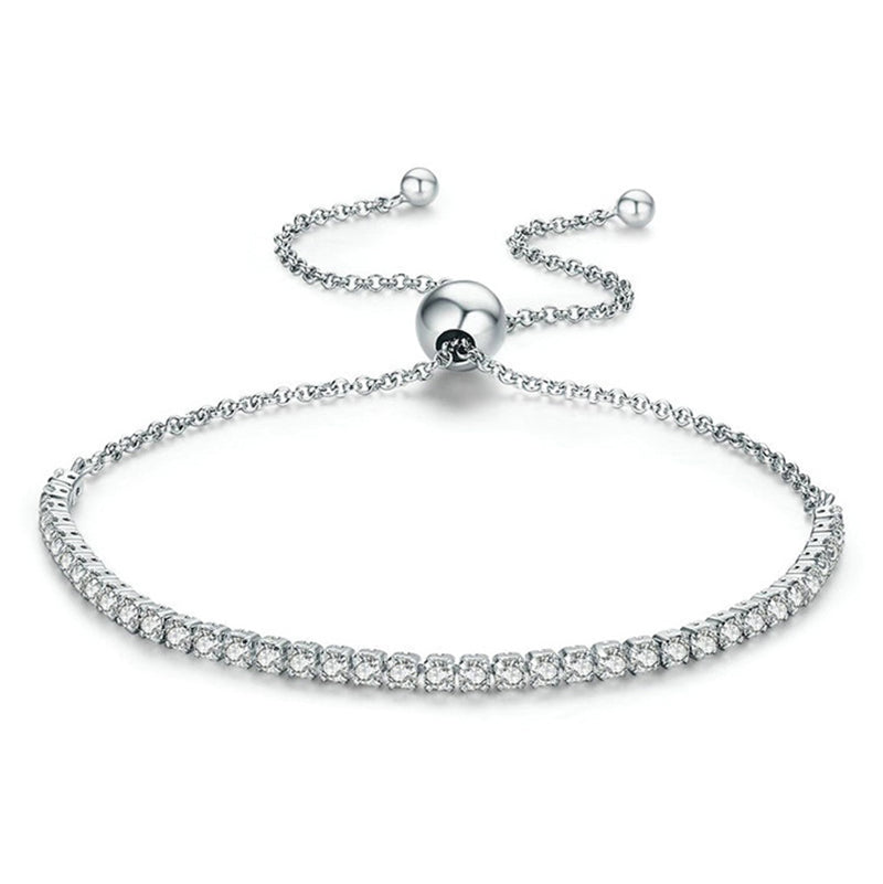 Classic Round Created White Diamond Adjustable Bracelet
