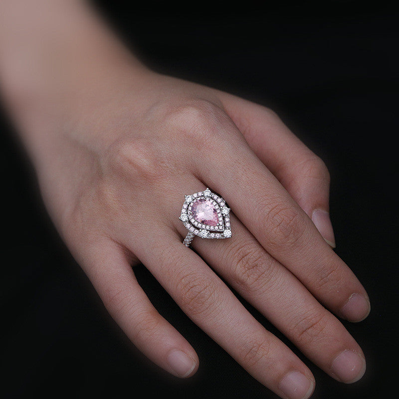 Royal 925 Sterling Silver Pear Cut Pink Created Sapphire Halo Ring