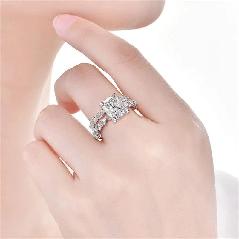 Radiant Cut Created Diamond Bridal Ring Sets
