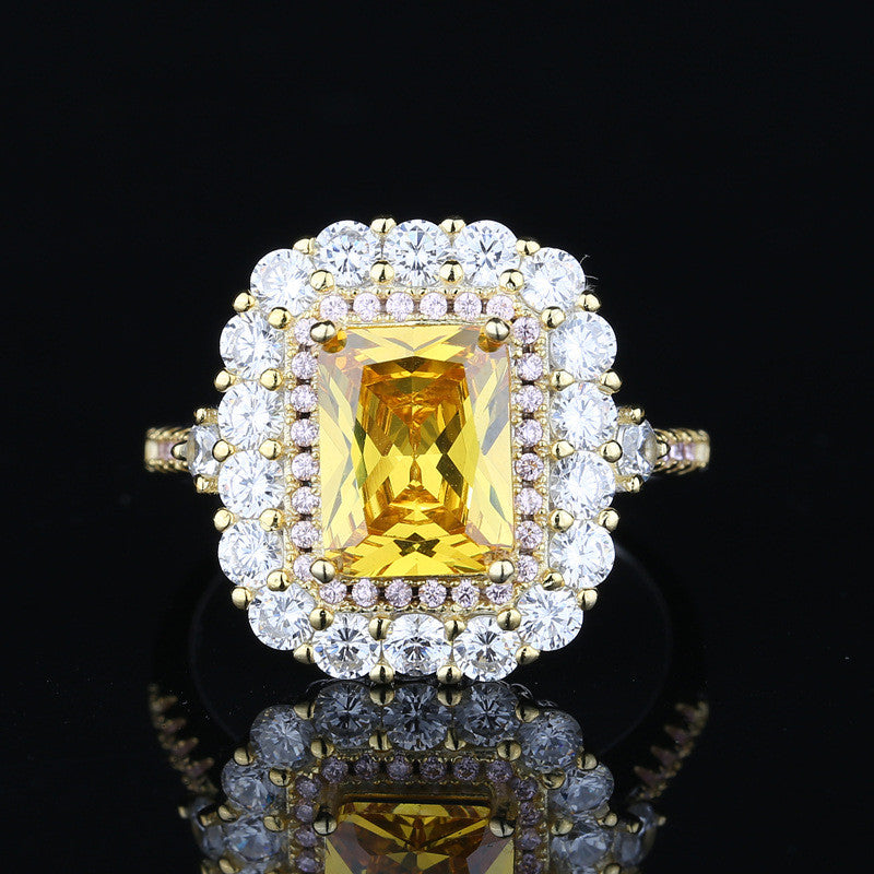 Vintage Flower Shaped Radiant Yellow Created Diamond Ring