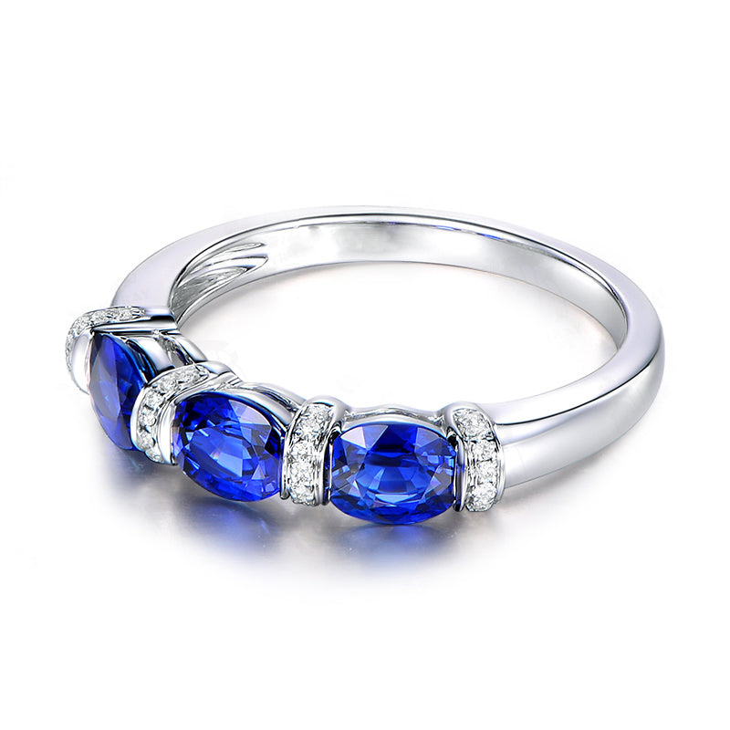 3-Stone Oval Cut Created Blue Diamond Rings