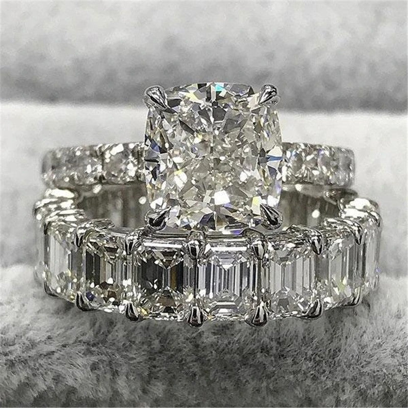 Cushion Cut Created Diamond Bridal Ring Sets