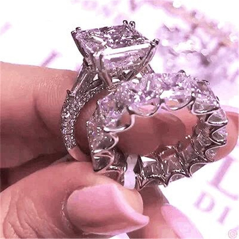 Princess Cut Created Diamond Bridal Ring Sets