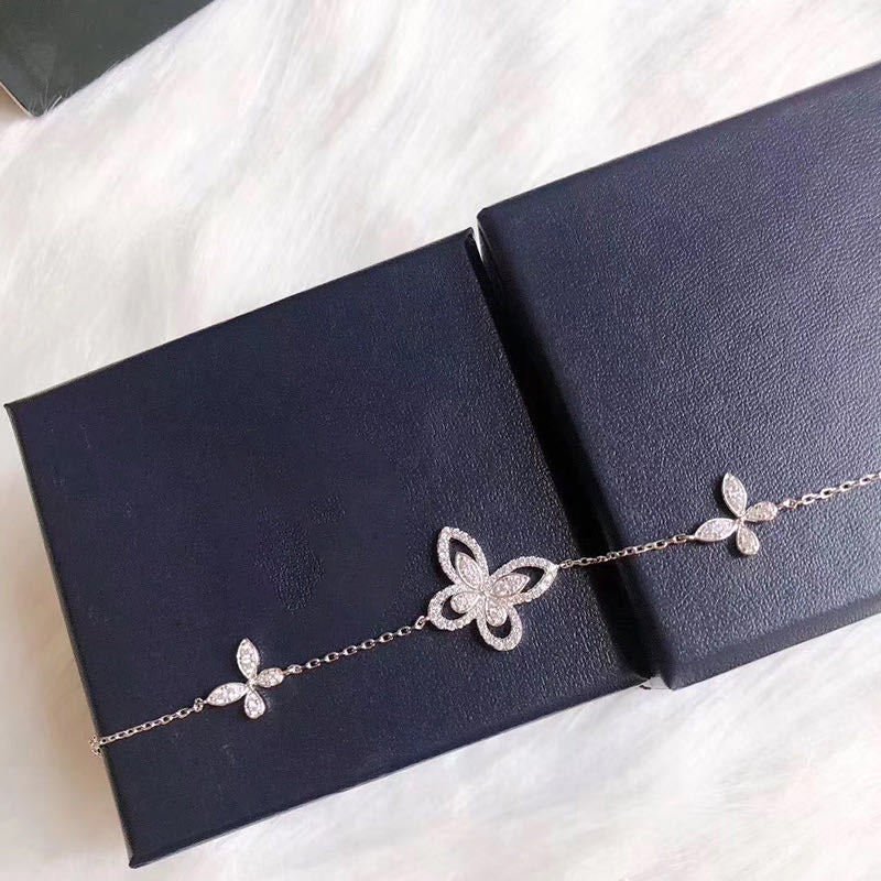 Butterfly Shaped Created White Diamond Bracelet