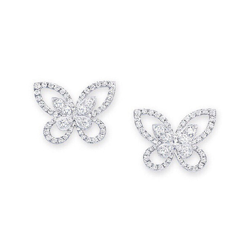 Cute Butterfly Sterling Sliver Stud Earrings for Women