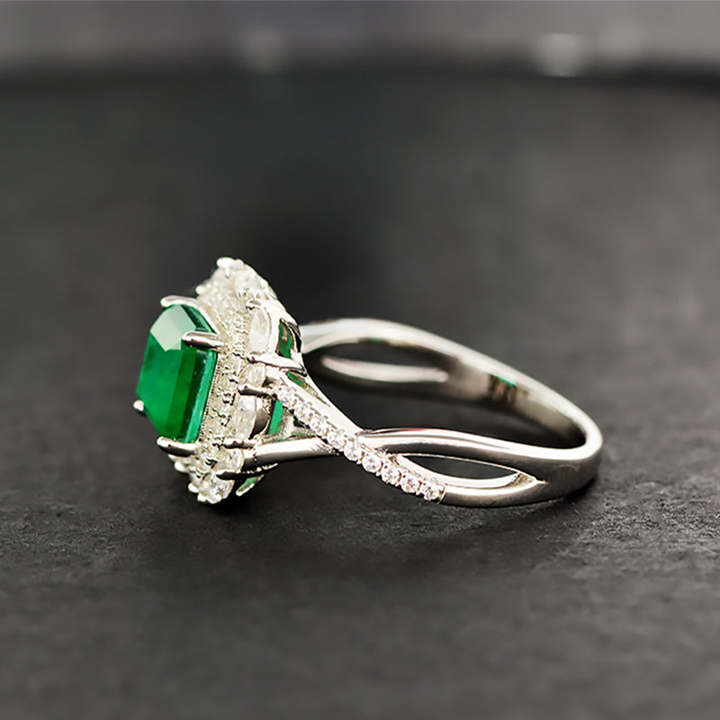 Emerald Cut Green Created Diamond Ring