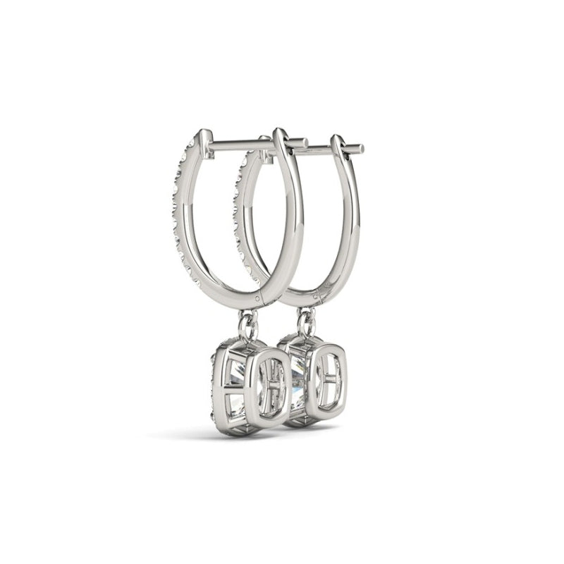 Square Halo Cushion Created White Diamond Drop Earrings