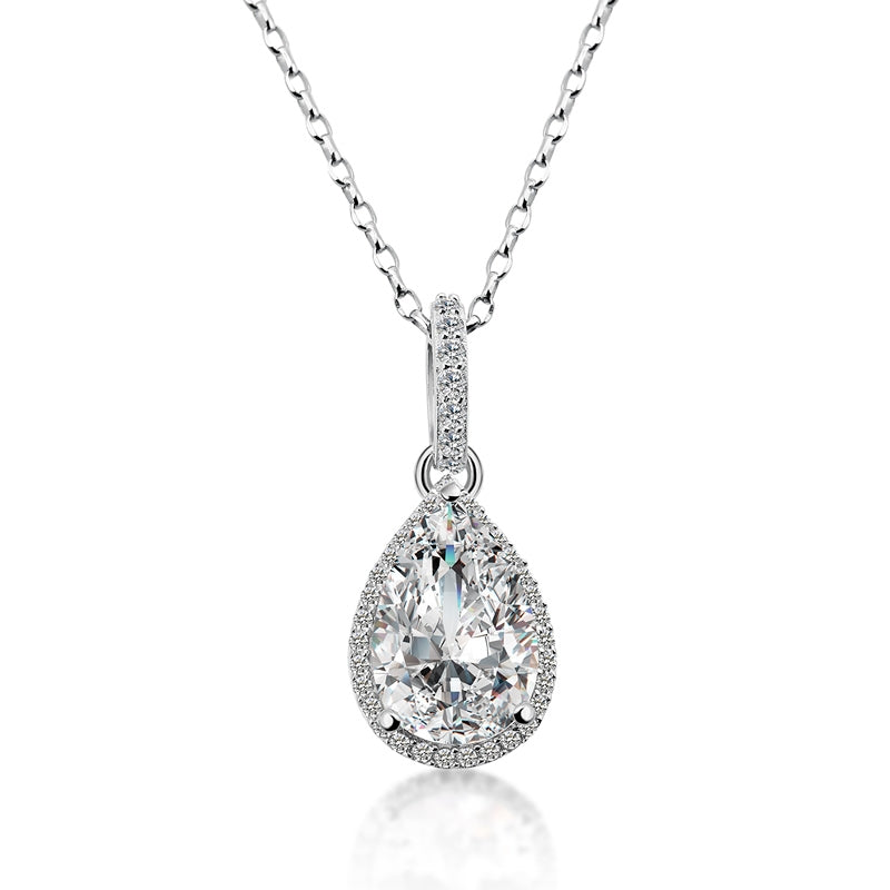 925 Sterling Silver Pear Cut Created White Diamond Pendant Necklace