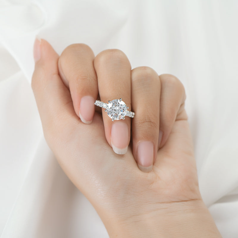 Six Prong Round Cut Created White Diamond Ring