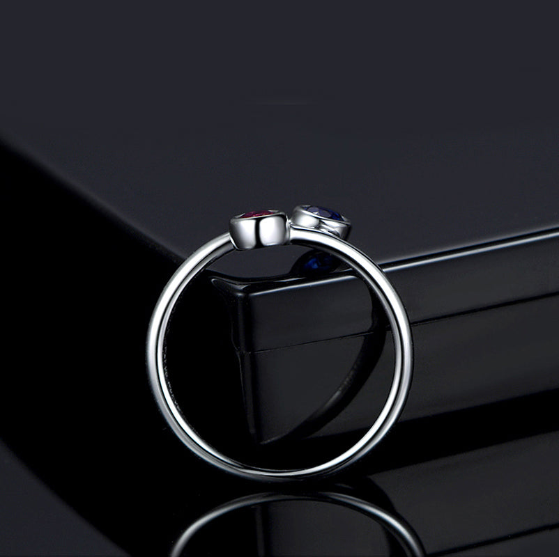Round  Created Blue Red Diamond Ring