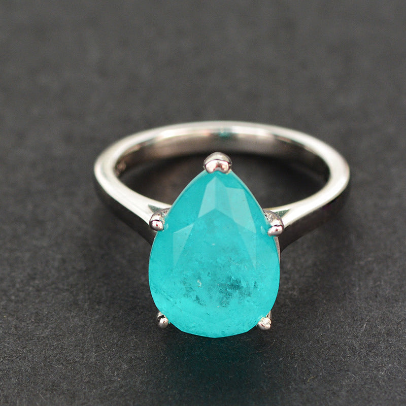 Vintage Pear Cut Blue Created Diamond Ring