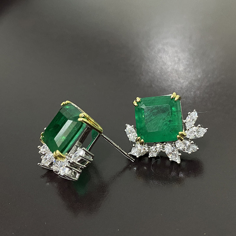 Classical Sterling Sliver Stud Earrings with Green Created Diamond for Women
