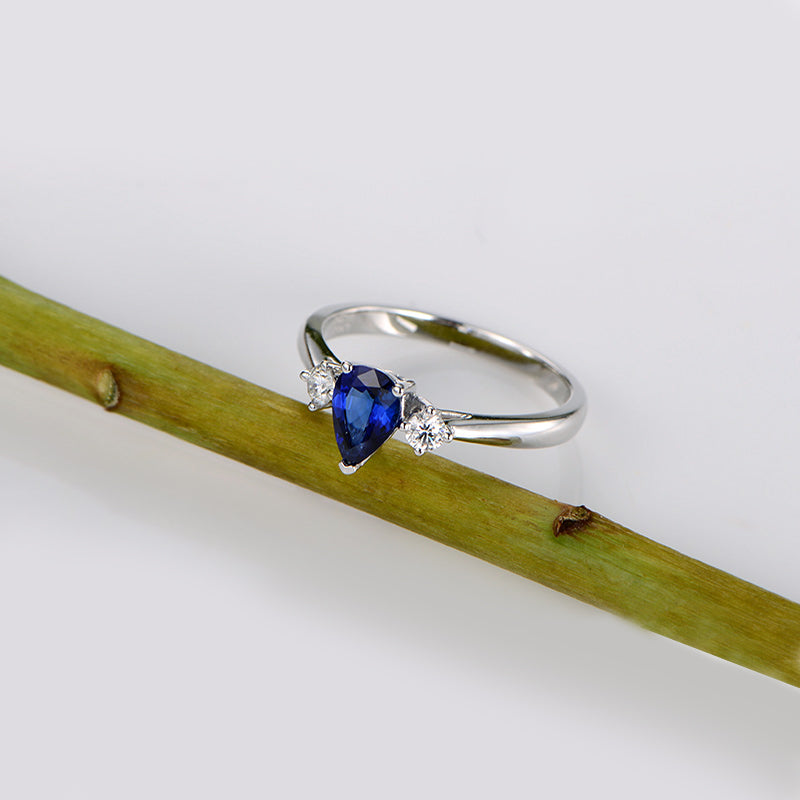 Pear Created Blue Diamond Three Stone  Ring