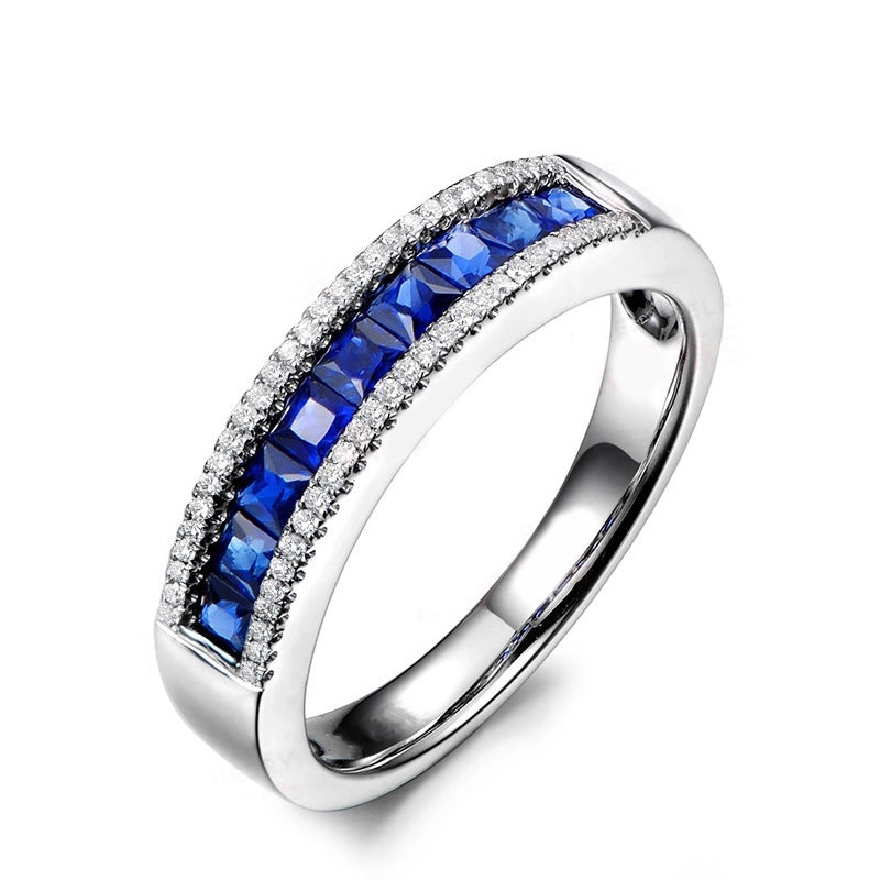 Channel Setting Princess Cut Created Sapphire Half Eternity Rings