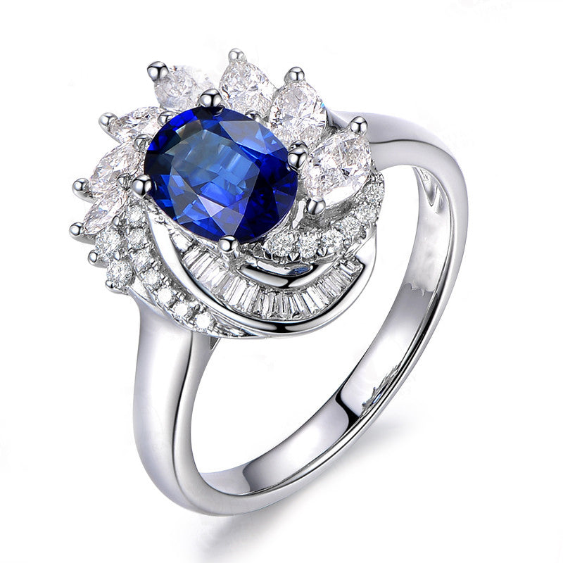 Blue Flora Style Oval Created Sapphire Halo Rings