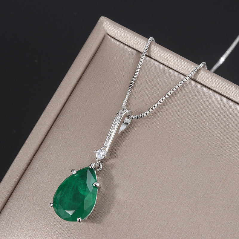 Lab Created Emerald/Ruby Vintage Pendant Necklace with Box Chain 18''