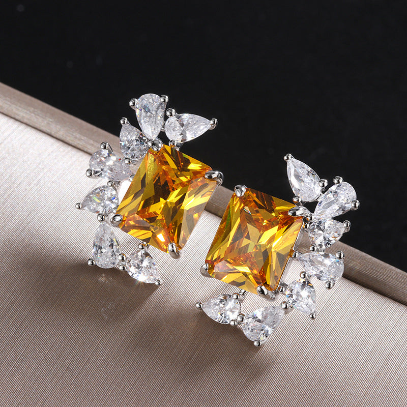 Vintage Radiant Cut Yellow Created Diamond Stud Earrings