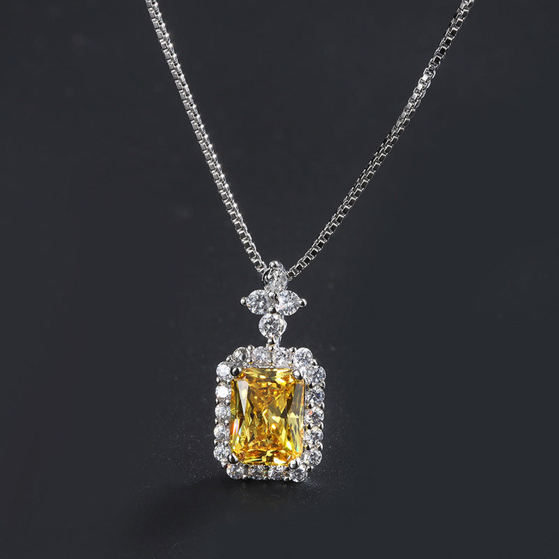 Halo Radiant Cut Yellow Created Diamond Pendant Necklace