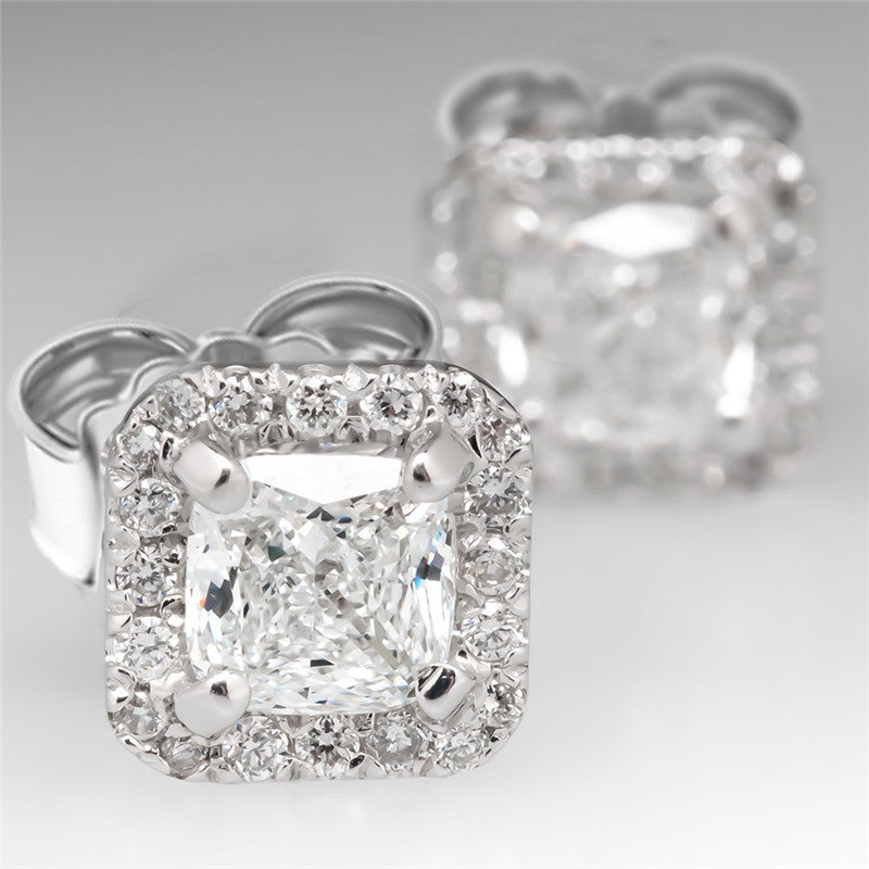 Cushion Cut Moissanite Halo Stud Earrings