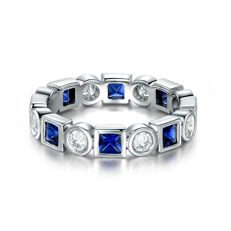 Blue & White Created Sapphire Princess Full Eternity Rings