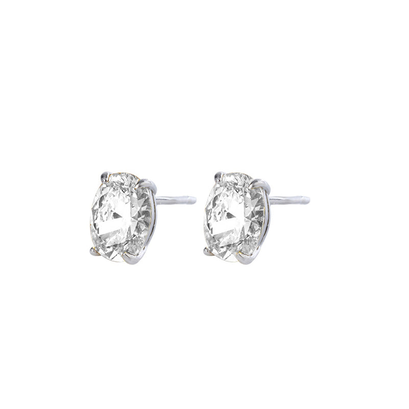 Oval Cut White Created Diamond Stud Earrings