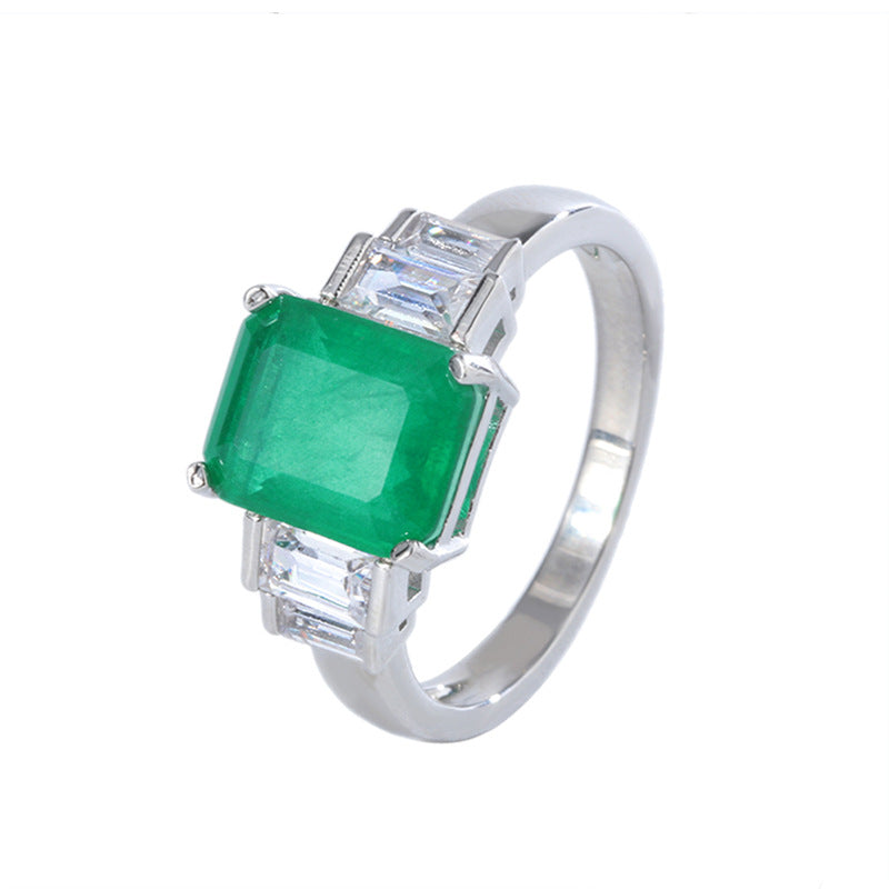 Five Stone Lab Created Emerald Vintage Ring