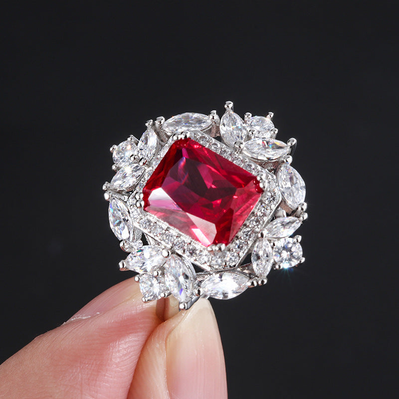 Halo Radiant Cut Lab Created Ruby Vintage Ring with Adjustable Size