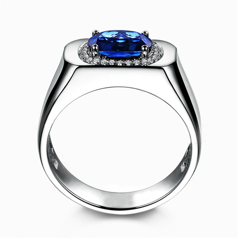 Halo Oval Created Blue Diamond Ring